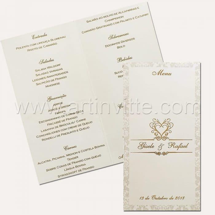 Cardápio para casamento e 15 anos - Card 015 - Adamascado e Hot Stamping Dourado - Art Invitte Convites
