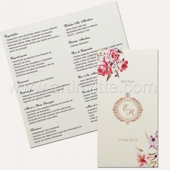 Cardápio para casamento e 15 anos - Card 016 - Rosas, rosê e azul marinho - Art Invitte Convites