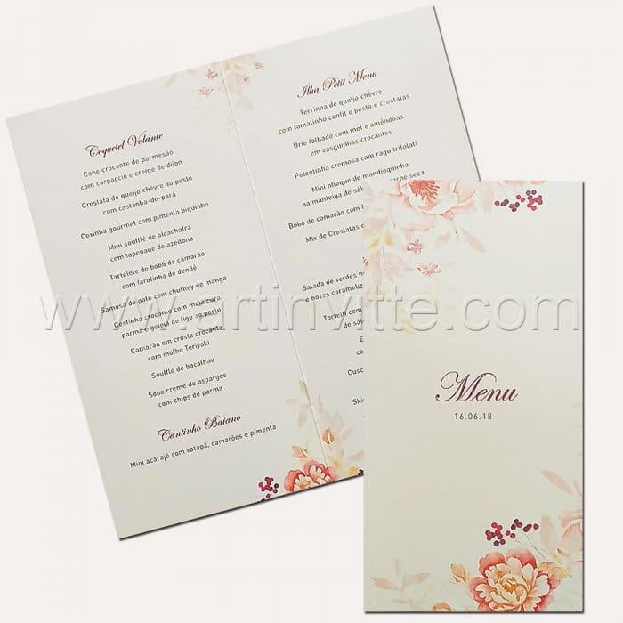 Cardápio para casamento e 15 anos - Card 017 - Floral - Art Invitte Convites
