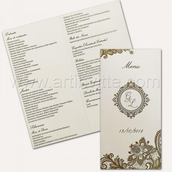 Cardápio para casamento e 15 anos - Card 018 - Indian Renda - Art Invitte Convites