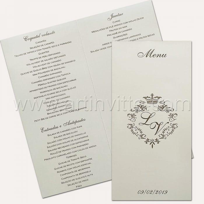 Cardápio para casamento e 15 anos - Card 019 - Branco e Prata com brasão - Art Invitte Convites