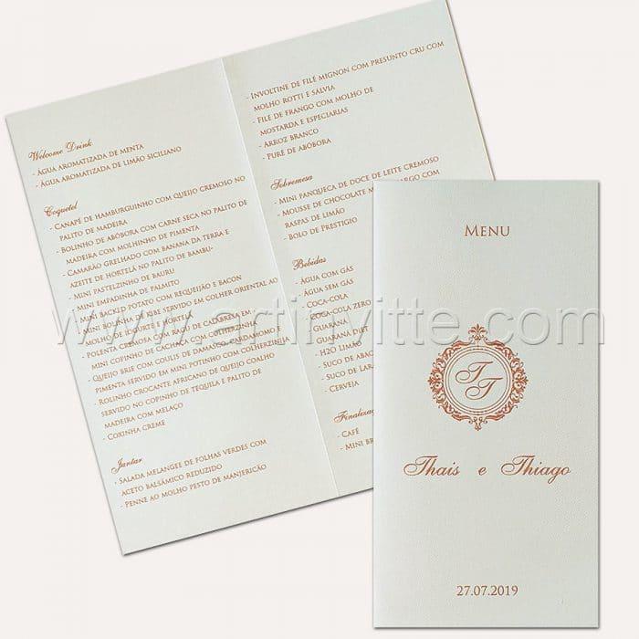 Cardápio para casamento e 15 anos - 020 - Rosê - Art Invitte Convites
