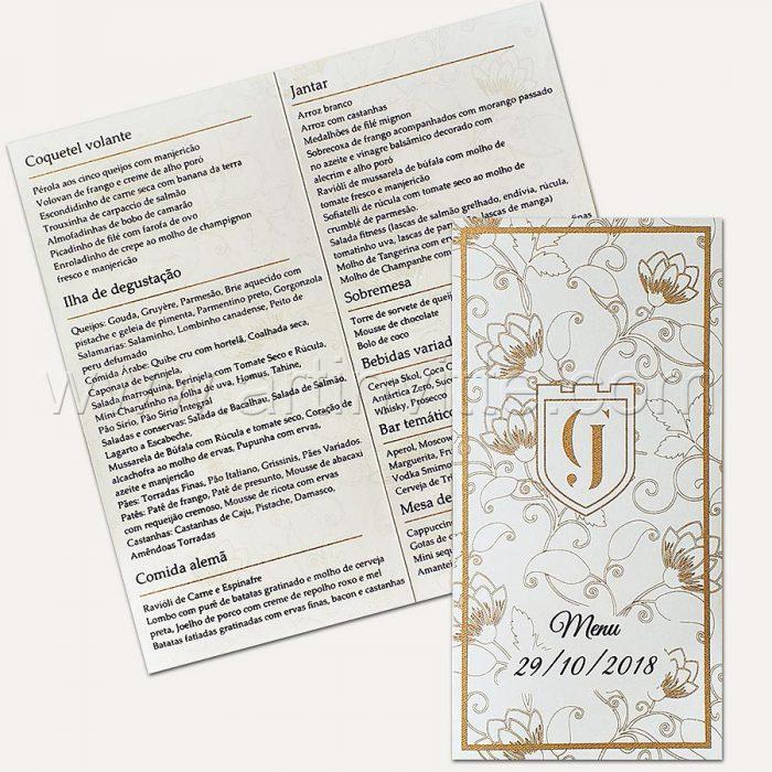 Cardápio para casamento e 15 anos - Card 021 - Dourado e Marinho - Art Invitte Convites