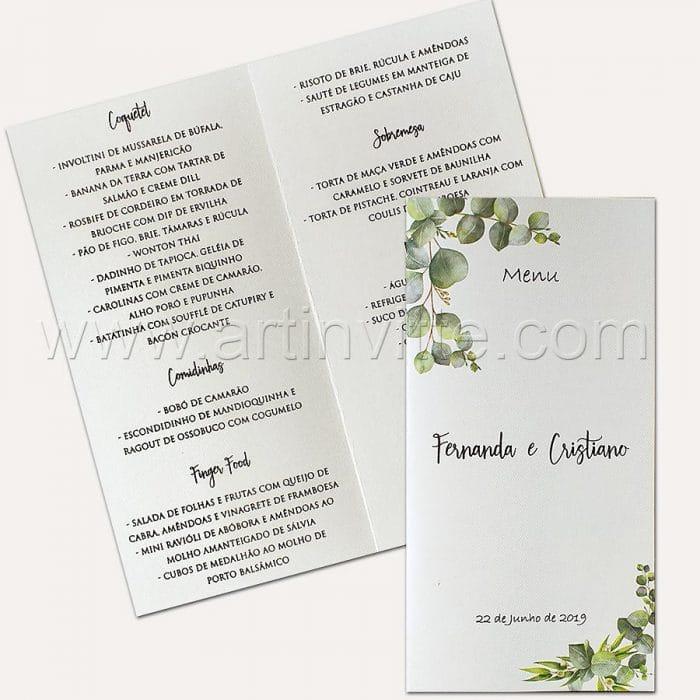 Cardápio para casamento e 15 anos - Card 022 - Folhagem - Art Invitte Convites