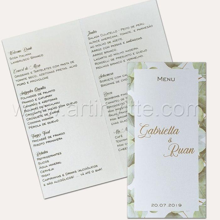 Cardápio para casamento e 15 anos - Card 023 - Folhagem - Art Invitte Convites