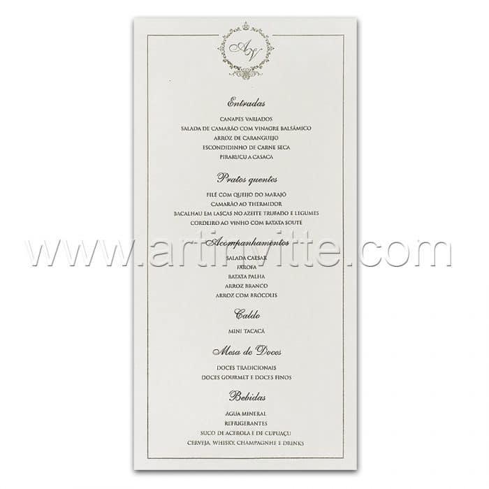 Cardápio para casamento e 15 anos - Card 025 - Tradicional - Art Invitte Convites