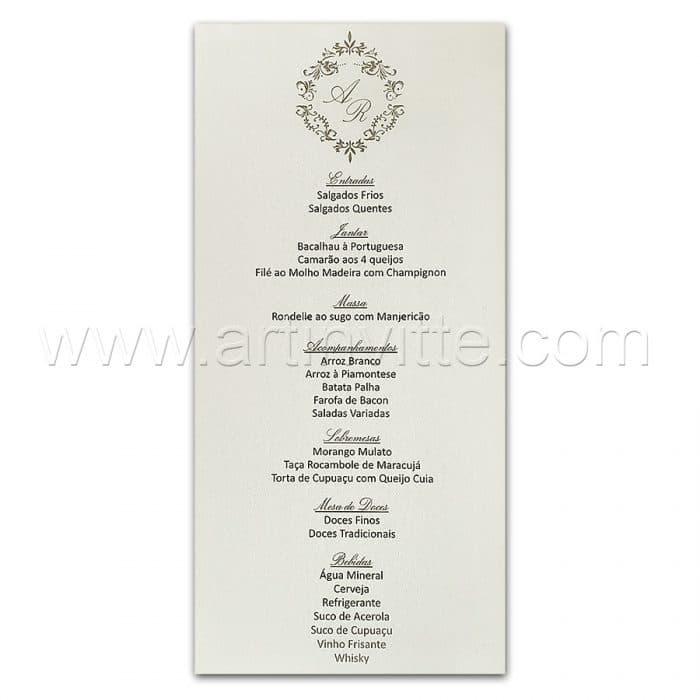 Cardápio para casamento e 15 anos - Card 026 - Clássico com Brasão - Art Invitte Convites
