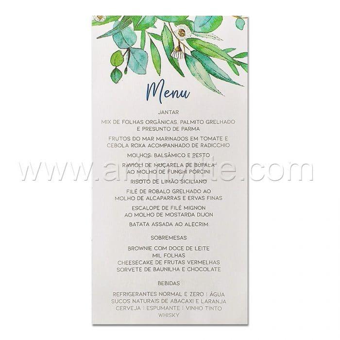 Cardápio para casamento e 15 anos - Card 027 - Folhagem elegante - Art Invitte Convites