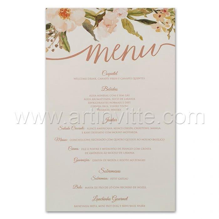 Cardápio para casamento e 15 anos - Card 028 - Floral delicado rosê - Art Invitte Convites