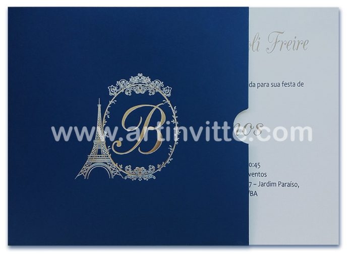 convite de 15 anos em azul marinho e prata com Torre Eiffel