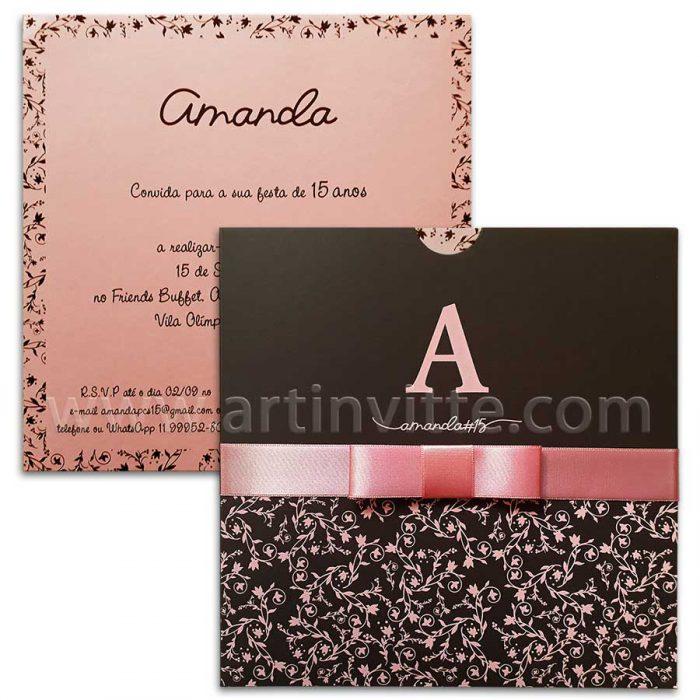 Convite debutante rosa e preto