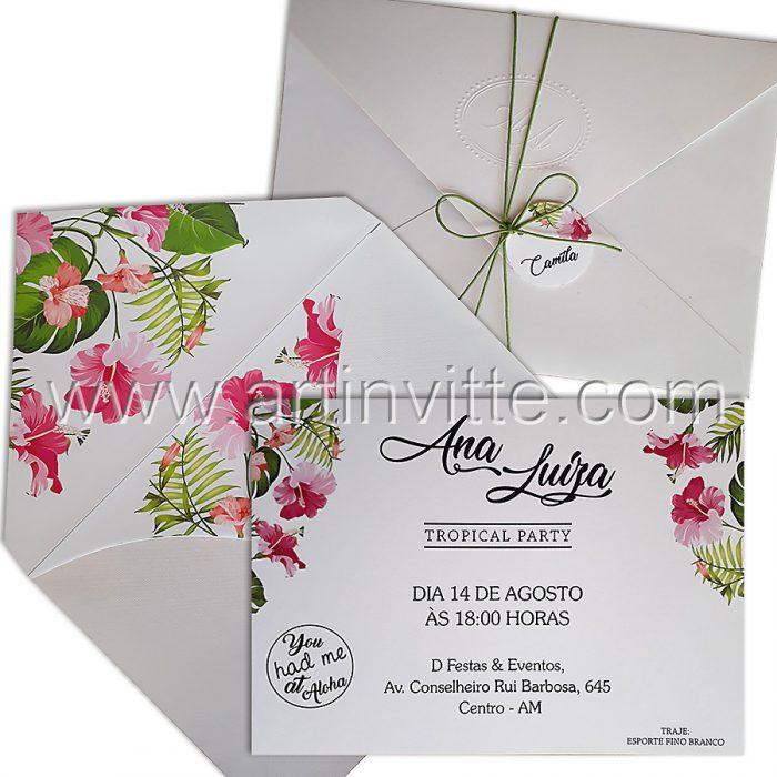 Convite de 15 anos para Luau com flores DIF 008