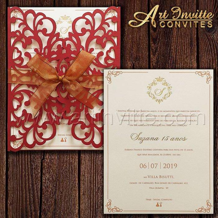 Convite de 15 anos - CDL 004 - Corte a laser Vermelho e brasão dourado - Art Invitte Convites