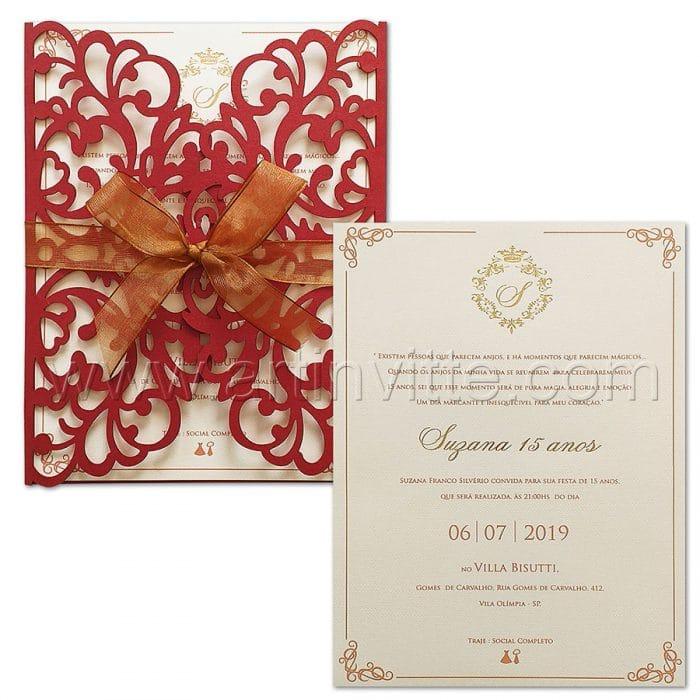 Convite de 15 anos - CDL 004 - Corte a laser Vermelho e brasão dourado