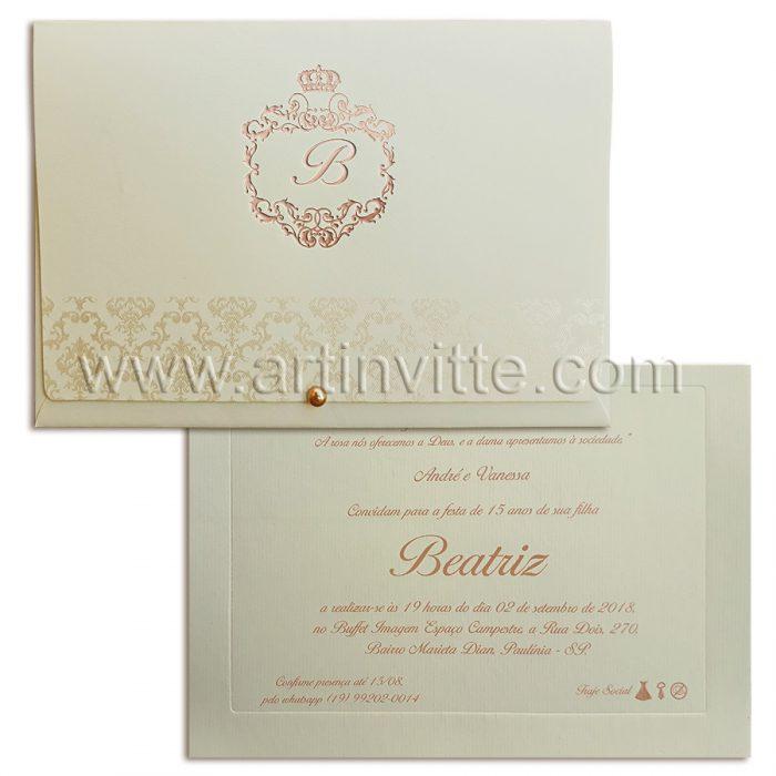 Convite de 15 anos para princesa em pérola e rosêDEB 039