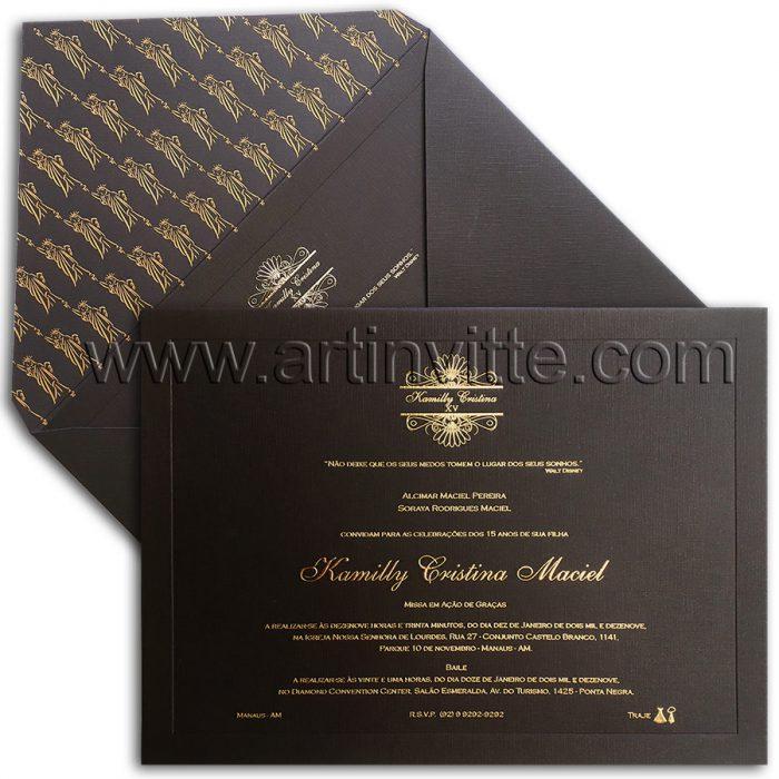 Convite de 15 anos sofisticado DEB 047 - Preto e Dourado