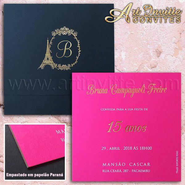 Convite de 15 anos em Pink, Preto e Dourado - Deb 048 - convite diferente