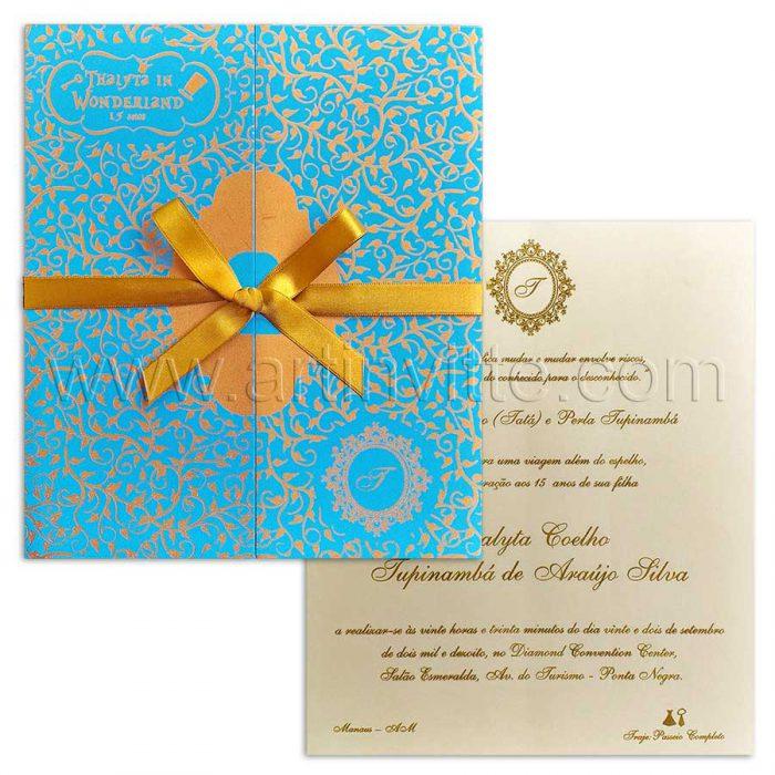 Convite de 15 anos azul e dourado - DEB 050 - Alice no País das Maravilhas - Art Invitte Convites