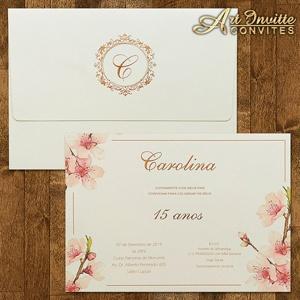 Convite floral para 15 anos com rosê
