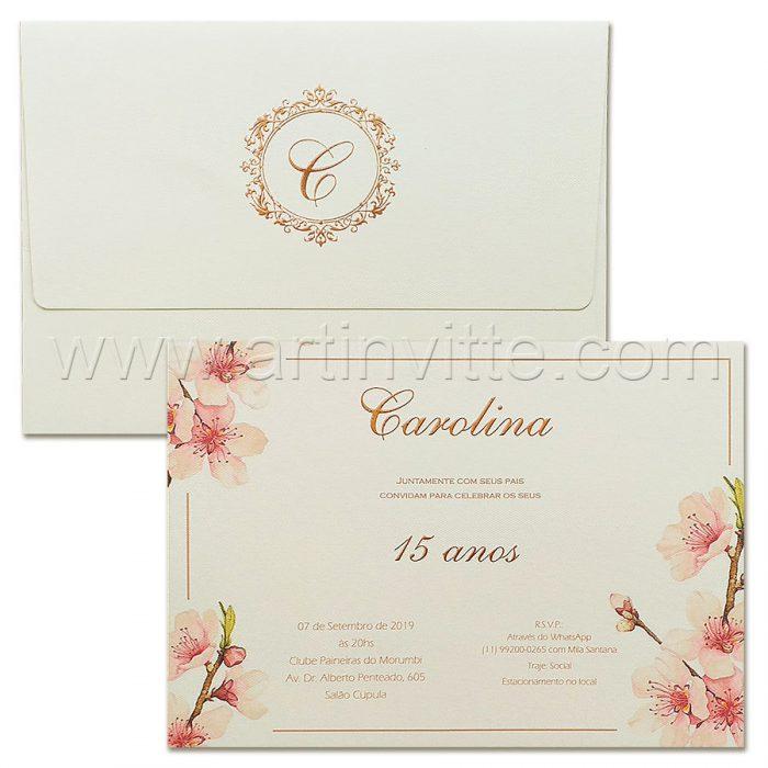 Convite de 15 anos Delicado - DEB 053 - Flora e Rosê - Art Invitte Convites