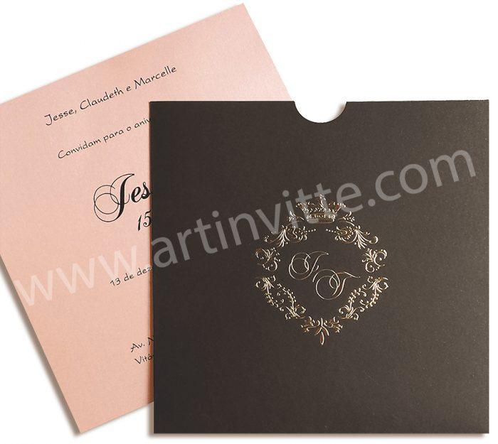 Convite de casamento Fronha Quadrado DFQ 009