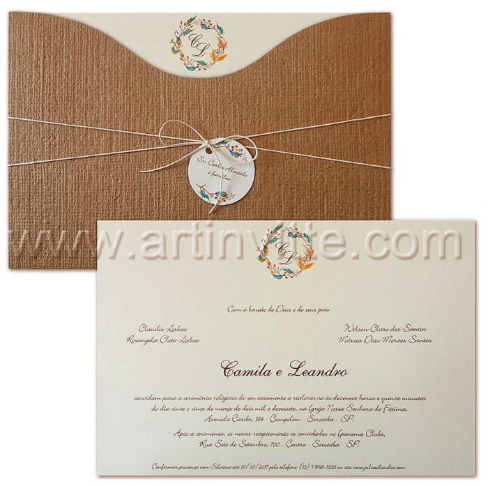 Convite Casamento Madri MD 040 - convites de casamento rústicos