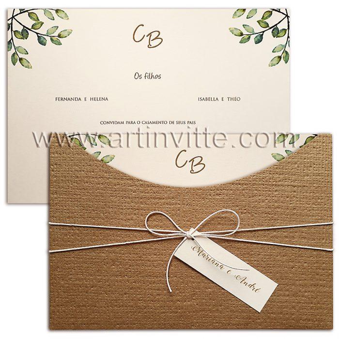 COnvite de casamento rústico - Madrid 042 Convites Rusticos