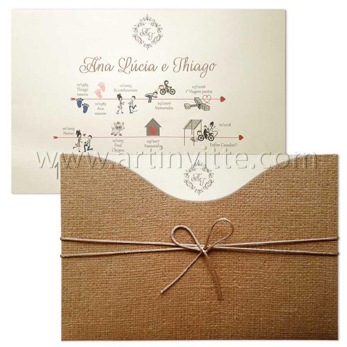 Convite para casamento moderno rústico modelo Madri MD 046 convites rusticos
