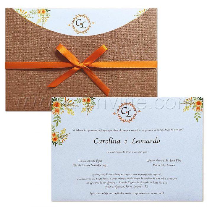 Convite de casamento Rústico - Madrid MD 049 - Laranja e Kraft Linhão - Art Invitte Convites Rústicos