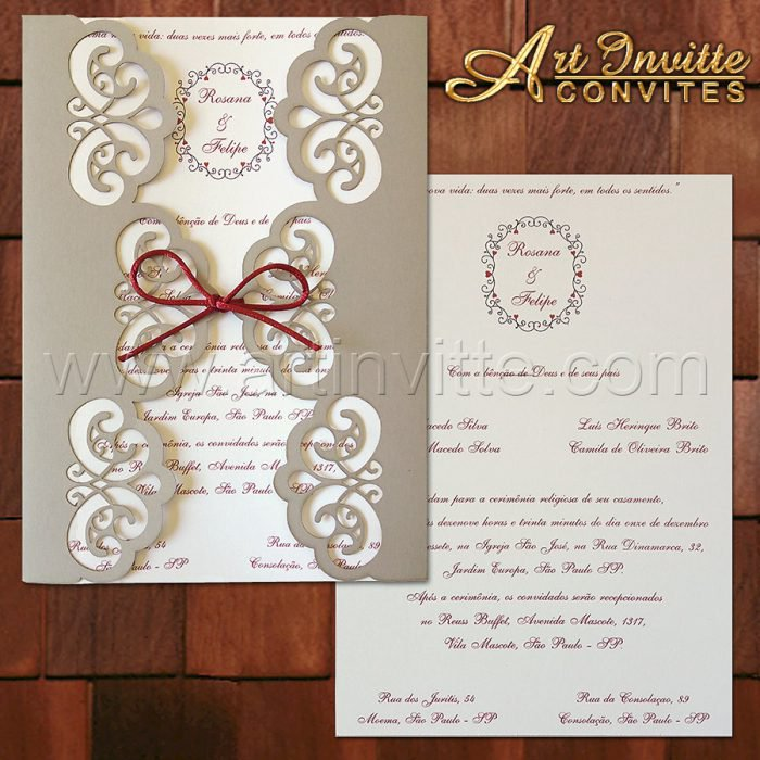 Convite de casamento com corte a laser CCL 016 cinza e marsala