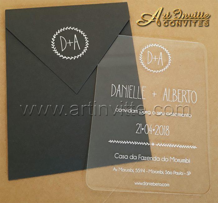 Convite de casamento Acrílico CAR 001 - Art Invitte Convites