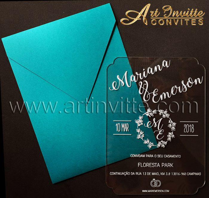 Convite de casamento Acrílico CAR 002 - Art Invitte Convites