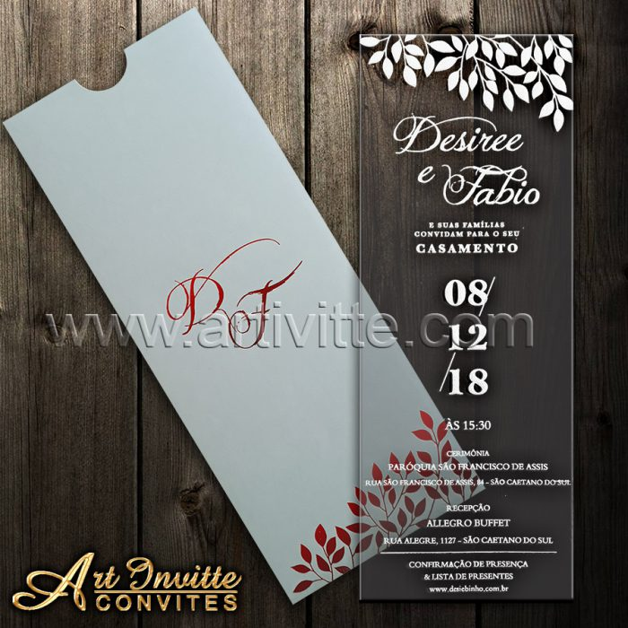 Convite de casamento em acrílico CAR 003 - convite para padrinho
