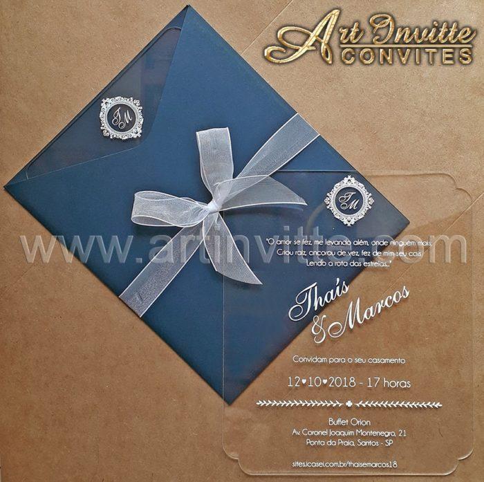 Convite de casamento em acrílico CAR 004 - convite para padrinhos