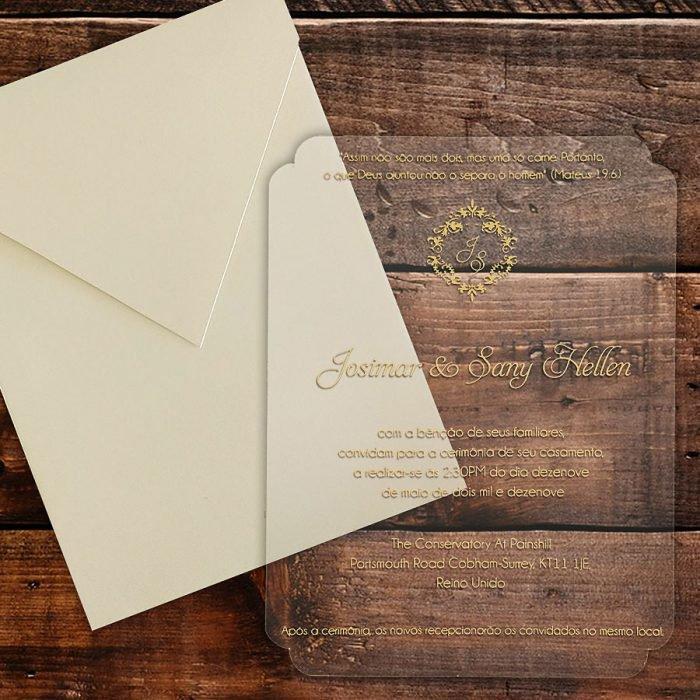 Convite de casamento Acrílico CAR 006 - Art Invitte Convites