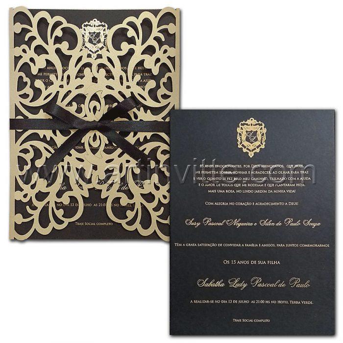 Convite de 15 anos - CDL 005 - Corte a laser Preto e brasão dourado - Art Invitte Convites