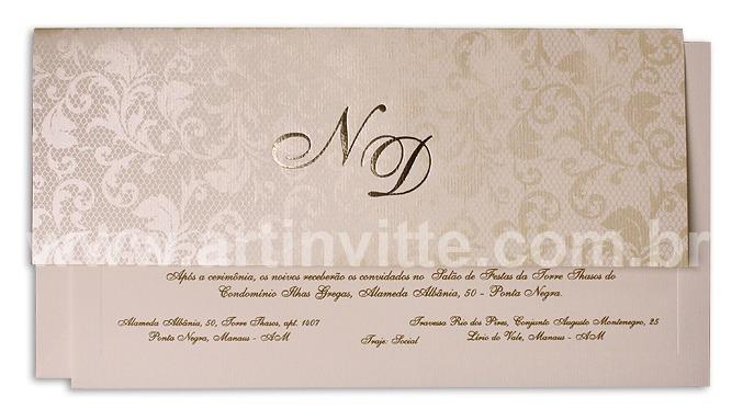Convite de casamento Art Invitte Convites - Carteira CT-006