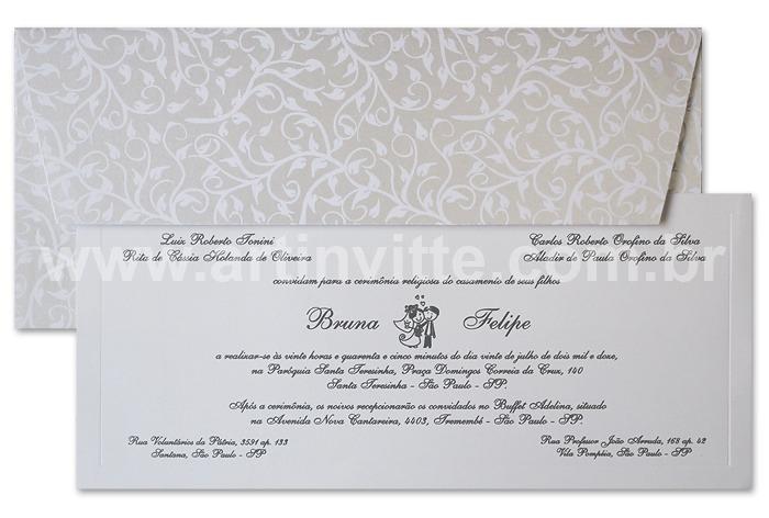 Convite de casamento Art Invitte Convites - Carteira CT-008
