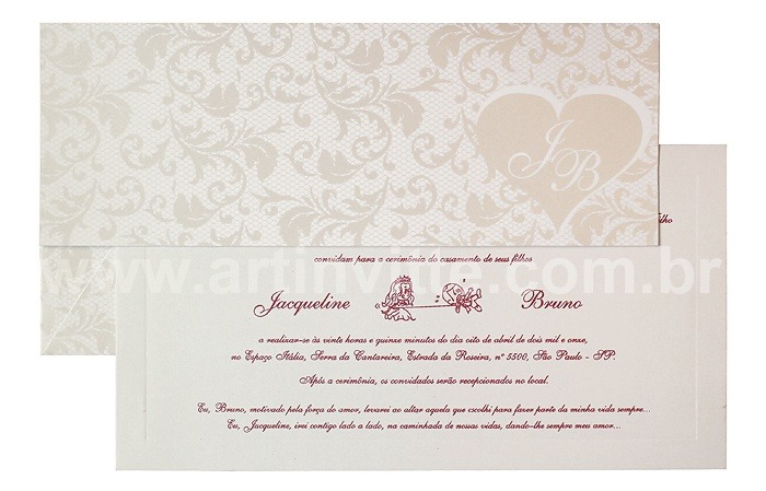 Convite de casamento Art Invitte Convites - Carteira CT-010