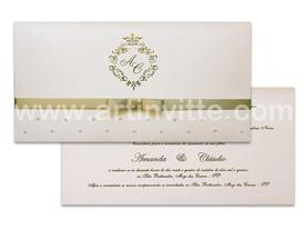 Convite de casamento com pérolas Carteira CT 017