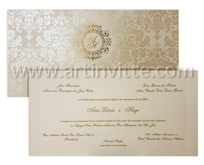 Convite de casamento Art Invitte Convites - Carteira CT-020