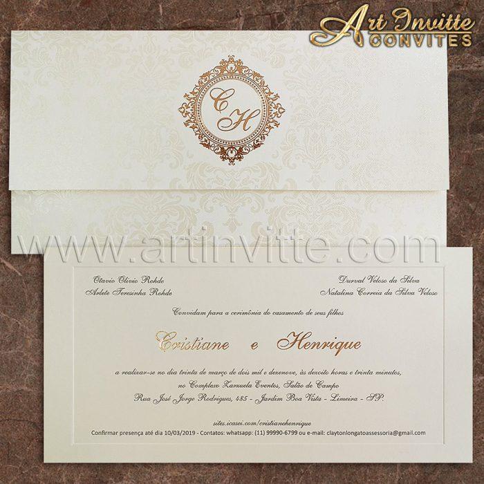 Convite de casamento Clássico - Carteira CT 021 - Off-white e Rosê - Art Invitte Convites
