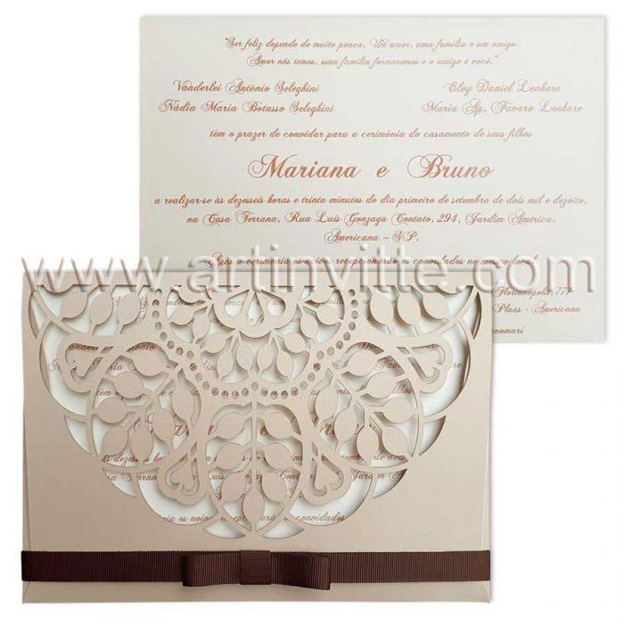 Convite de casamento com corte a laser CCL 022