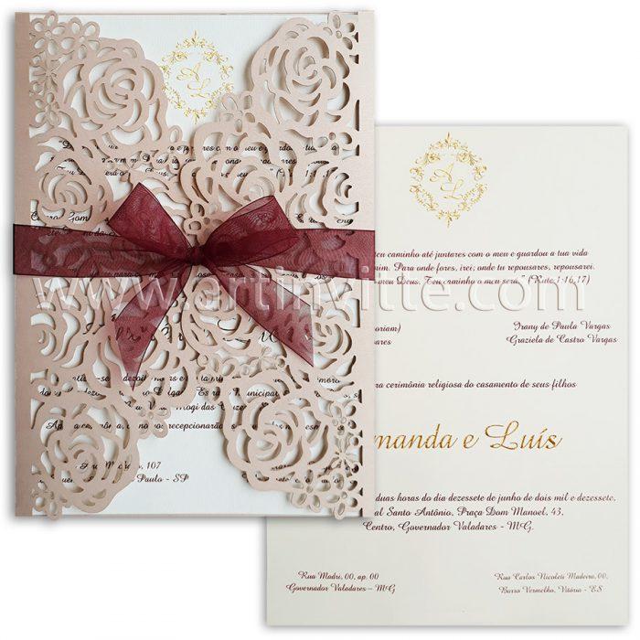 Convite para casamento modelo CCL 026 com corte a laser rosê
