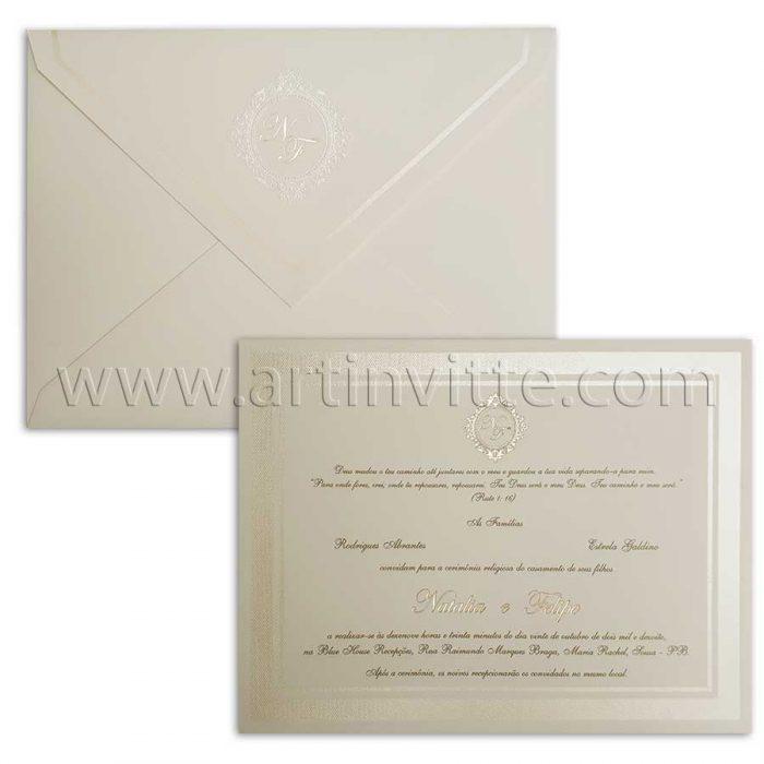 Convite de casamento tradicional modelo DF 016