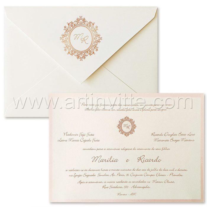 Convite de casamento tradicional - OR 009