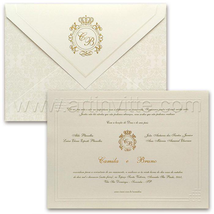 Convite de casamento Tradicional - São Francisco SF 004 - Pérola e Dourado - Art Invitte Convites