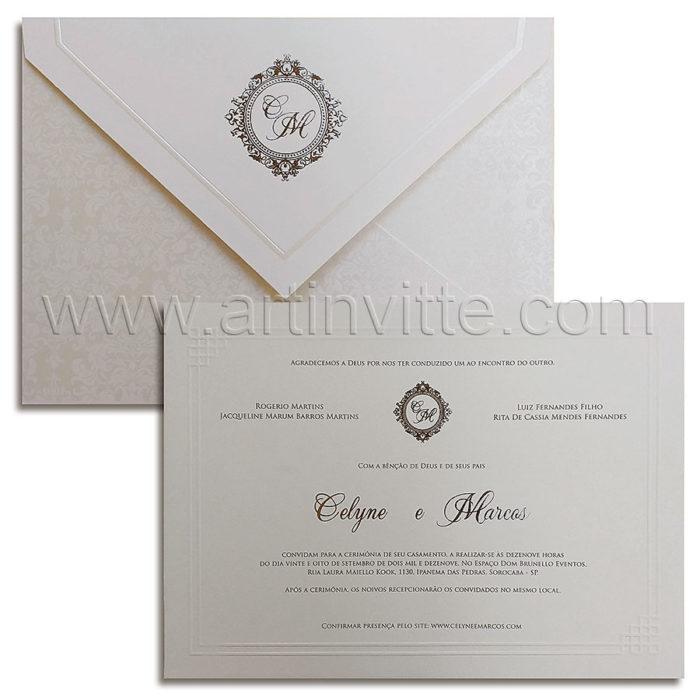 Convite de casamento Tradicional - São Francisco SF 005 - Pérola e Prata - Art Invitte Convites