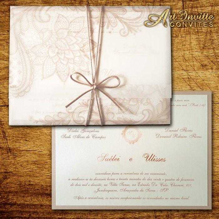 Convite de casamento moderno, triplo TRP 038