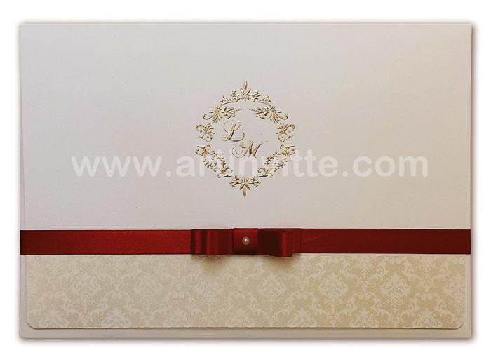 Convite de casamento Veneza VZ 037,com fita de cetim marsala e ´pérola